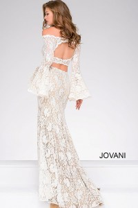 Jovani 45894 Ivory long fitted two piece off the shoulder ...