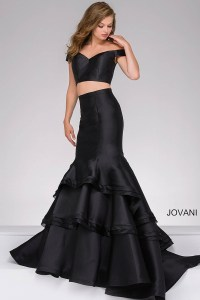 Black long two-piece off the shoulder sweetheart neck ...