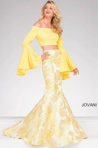 Jovani 48922 Two-piece bell sleeve dress with printed ...