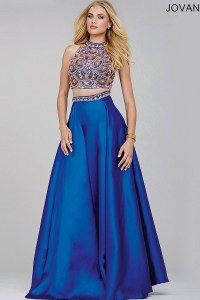 Blue Two Piece Prom Dress  fashion dresses