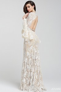 Lace long gown with an open back and a crystal embellished ...