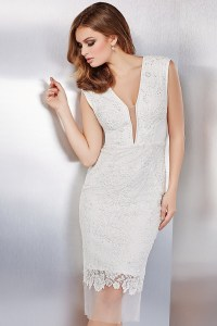 White beaded lace fitted cocktail dress with sheer neckline