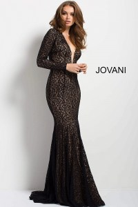 Black long fitted lace long sleeve plunging neck evening ...