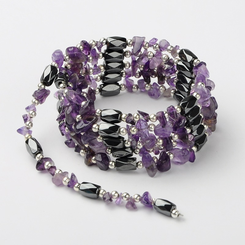 6 Styles In 1 Magnetic Hematite Amethyst Wrap Necklace