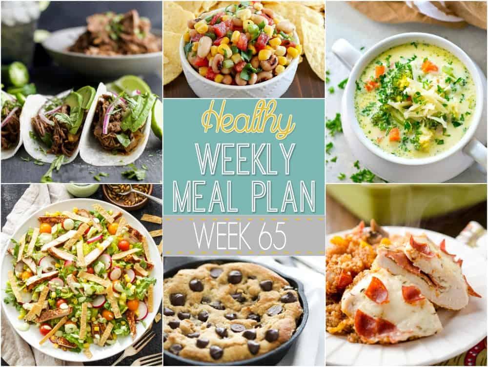 Healthy Weekly Meal Plan Week 65 - breakfast lunch and dinner meal plan for a week