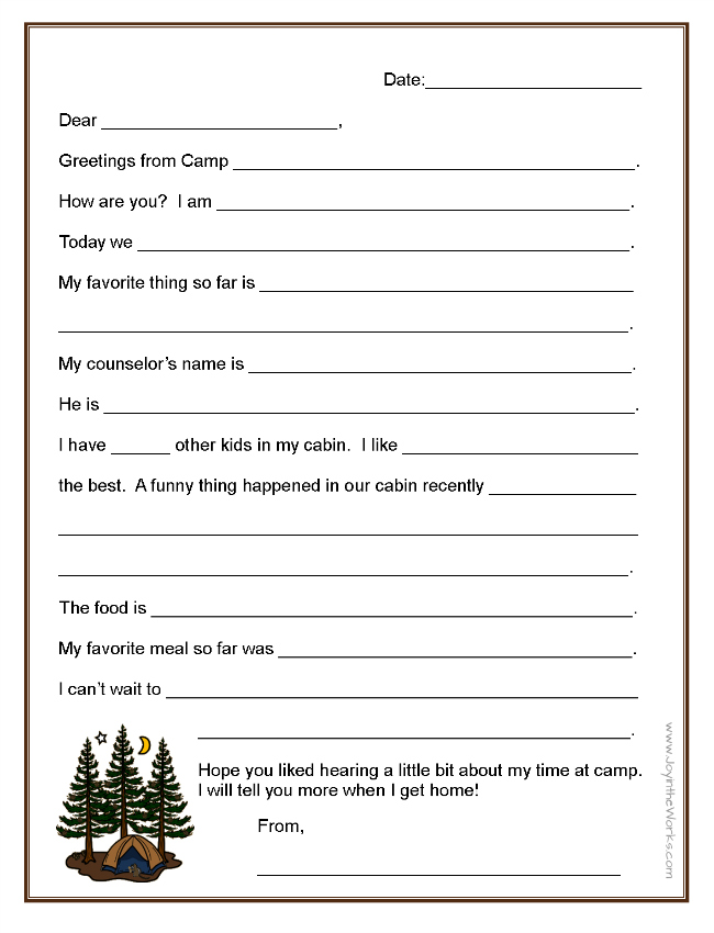Fill-in-the-Blank Letters to (and From!) Camp - Joy in the Works - child letter