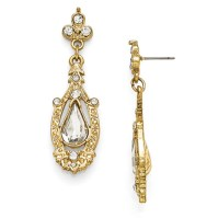 Gold-tone Downton Abbey Glass Pear Crystal Drop Earrings ...