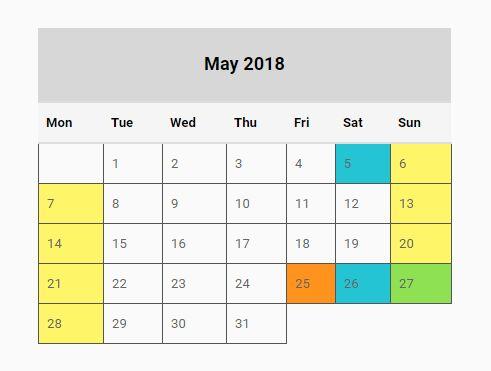 Basic Year Calendar Generator With jQuery - full-year-calendarjs