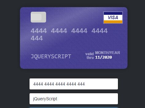 Create An Interactive Credit Card Form In jQuery - Cardjs Free - credit card form