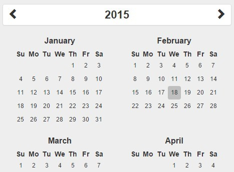 Simple Year Calendar Plugin For jQuery and Bootstrap Free jQuery