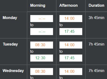 Tiny Time Duration Calculator Plugin - Worked Hours Grid Free