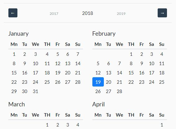 Customizable Year Calendar Plugin For Bootstrap 4 Free jQuery Plugins