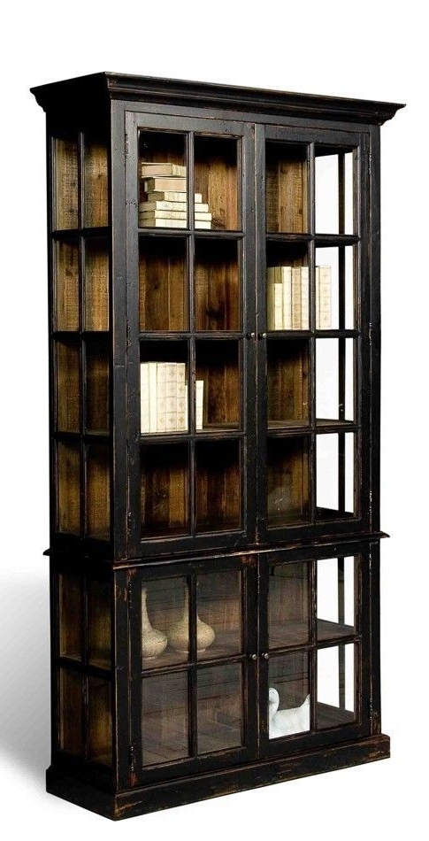 2018 Popular Black Bookcases With Glass Doors