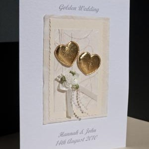 Hearts & Flowers - Golden Wedding Anniversary Card Angle - Ref P106