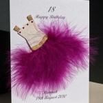 Flouncy feathers - cerise - 18th/21st Birthday Card Angle - Ref P107c