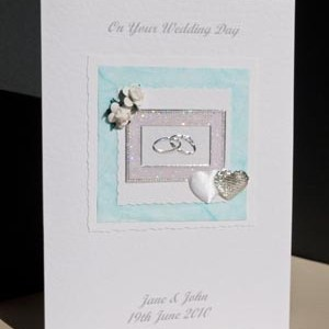 Roses, Hearts and Rings Wedding Card Angle - Ref P127