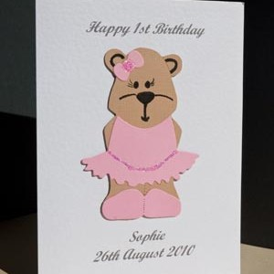 Bonnie Bear - Girls Birthday Card Angle - P171