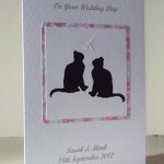 Lucky Black Cats Wedding Card Angle - Ref P182