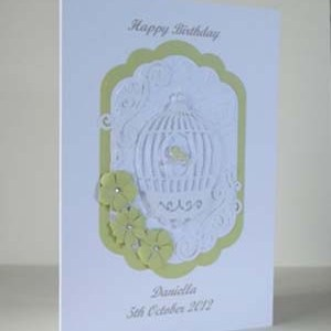 Bird Cage Women's Birthday Card Angle – Ref P190