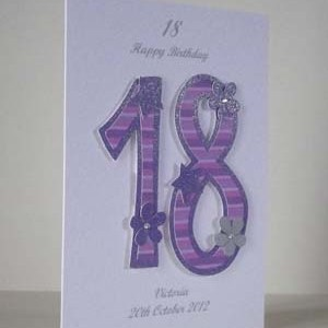 Pink and Purple 18 - 18th Birthday Card Angle - Ref P194