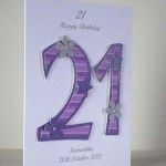 Pink and Purple 21 - 21st Birthday Card Angle - Ref P195