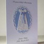 Blue Ribbon Christening Card Angle - Ref P200