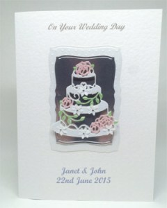 Rose Wedding Cake - Wedding Card Front - Ref P212