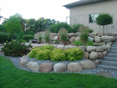 Boulder Retaining wall tiered w  stairs -    www - Design Of Retaining Walls Examples