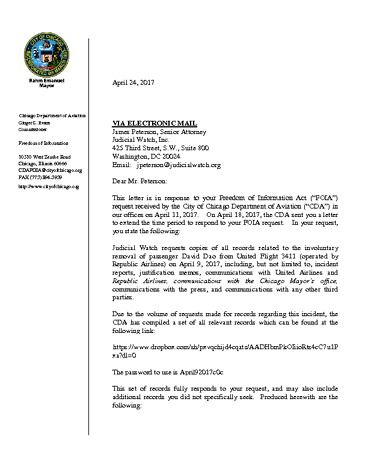 Chicago Department of Aviation April 2017 Response Letter 17-105