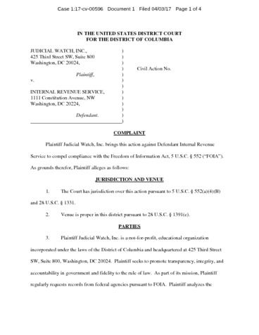 ... JW V IRS Complaint 00596   Judicial Watch   Irs Complaint Form ...
