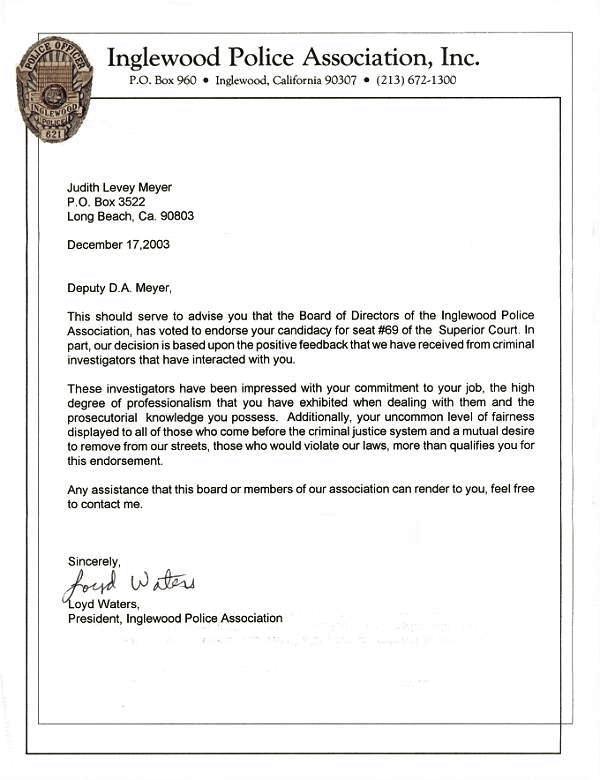 Endorsement Letter - Elect Judith L Meyer for Superior Court Judge