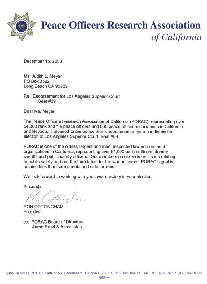 Endorsement Letter - Elect Judith L Meyer for Superior Court Judge - endorsement letter
