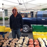 Totally random: a mushroom seller at the Washington Farmer's Market.
