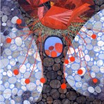 """Red EggsSOLDPaper Collage on Canvas36"""" x 36"""""""