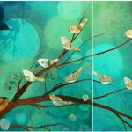 """Evening SongSOLDPaper Collage (Diptych)24"""" x 54"""""""