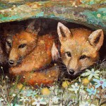 "Fox Cubs - Mayo Clinic    COMMISSIONPaper Collage on Wood Panel30""x 30"""