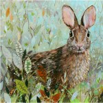 "Meadow Hare - Mayo Clinic    COMMISSIONPaper Collage on Wood Panel30""x 30"""