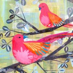 """Love Birds TwoSOLDPaper Collage on Canvas24"""" x 30"""""""