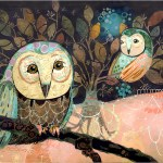 """Night OwlsSOLDPaper Collage on Panel36"""" x 24"""""""
