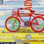 """Red BicycletteSOLDPaper Collage on Canvas16"""" x 12"""""""