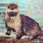 "River Otter - Mayo Clinic    COMMISSIONPaper Collage on Wood Panel30""x 30"""