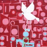 """White GrackleSOLDPaper Collage on Canvas8"""" x 8"""""""