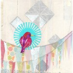 Party Perch I      SOLD            Mixed Media on Wood Panel       10″ x 10″