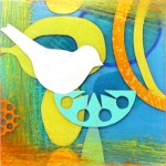 Retro Roost IV      SOLD            Cut paper and Plexiglas on Wood       6″ x 6″