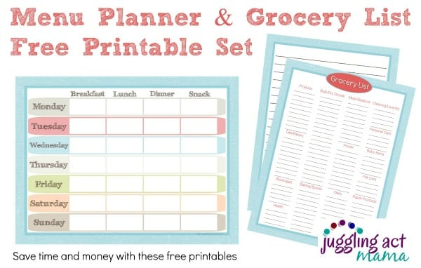 Menu Planner and Grocery List Printable Set - Juggling Act Mama