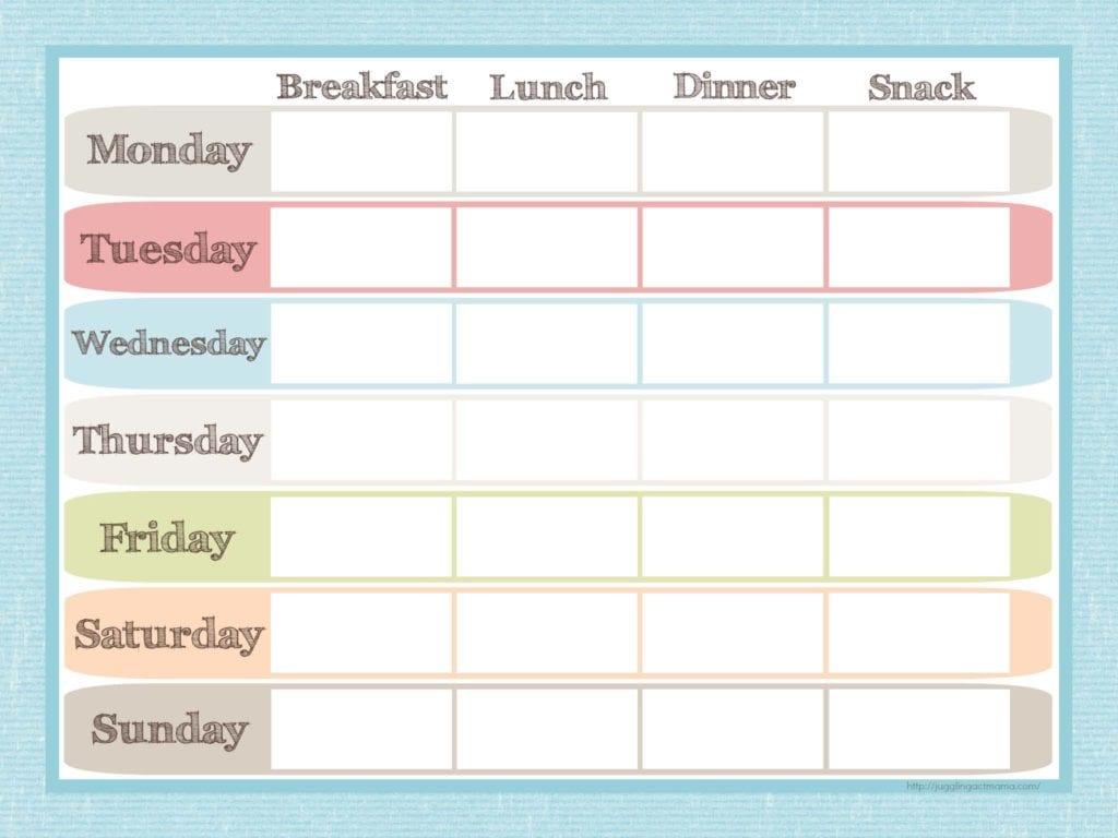 Menu Planner And Grocery List Printable Set Juggling Act