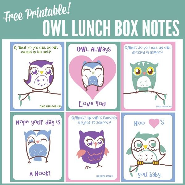 Free Printable Owl Lunch Box Notes - Juggling Act Mama