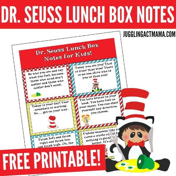 Fun Dr Seuss Lunch Box Notes - Juggling Act Mama