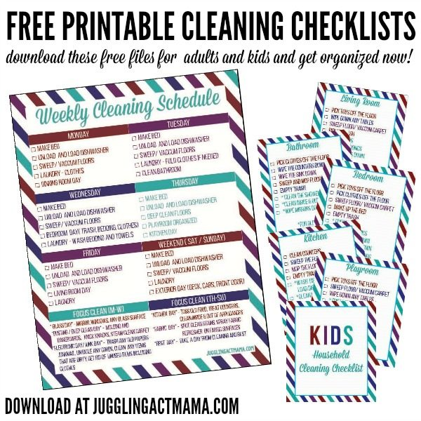 Chore Checklist for Kids Free Printable for kids and adults