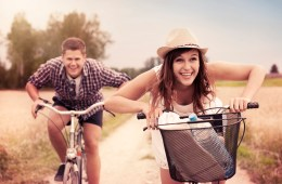 young couple biking
